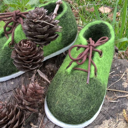 Обувь ручной работы. Ярмарка Мастеров - ручная работа. Купить Ботиночки валяные детские. Handmade. Зеленый, обувь детская из войлока