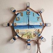 """Часы ручной работы. Ярмарка Мастеров - ручная работа Часы настенные в морском стиле """"Безмятежность"""". Handmade."""