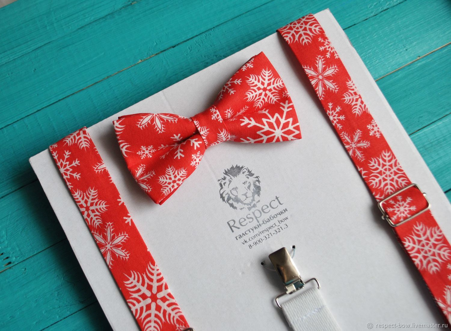 Red Christmas kit bow Tie and Suspenders with snowflakes to buy in the online store with operational delivery in Moscow, St. Petersburg, in any city of Russia and the world