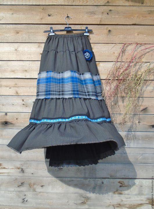 Юбки ручной работы. Ярмарка Мастеров - ручная работа. Купить Весеннее небо - ярусная юбка из полушерсти.. Handmade. Темно-серый