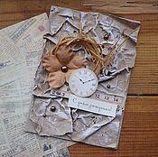 Открытки ручной работы. Ярмарка Мастеров - ручная работа Открытка с часами. Handmade.