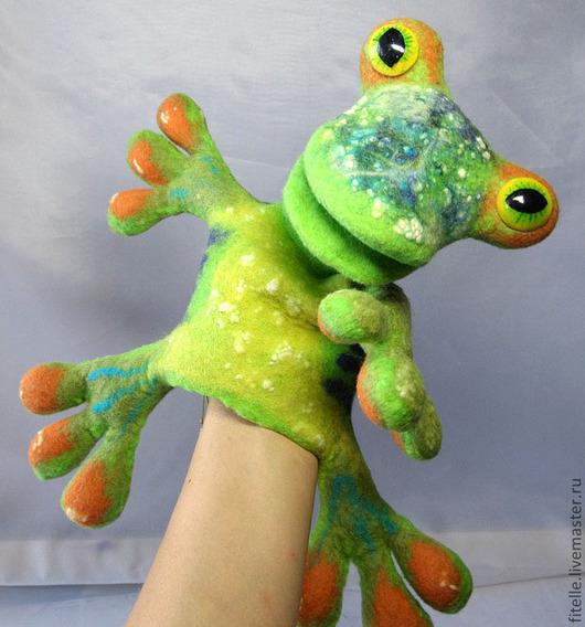 """Кукольный театр ручной работы. Ярмарка Мастеров - ручная работа. Купить Игрушка бибабо """"Лягушка"""". Handmade. Игрушка ручной работы"""