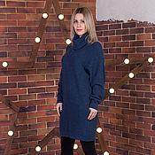 Одежда ручной работы. Ярмарка Мастеров - ручная работа Отражение осени-джинс- вязаное платье овер-сайз. Handmade.