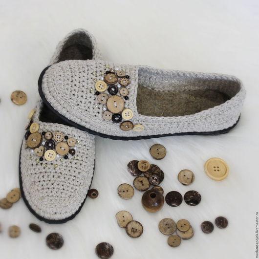 Обувь ручной работы. Ярмарка Мастеров - ручная работа. Купить Льняные балетки. Handmade. Бежевый, вязаные балетки, летние туфли