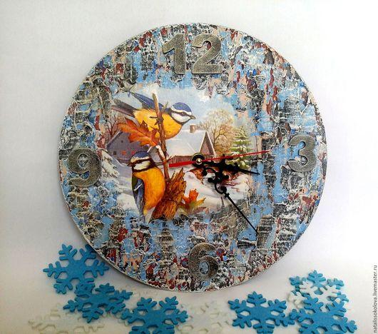 """Часы для дома ручной работы. Ярмарка Мастеров - ручная работа. Купить Часы """"Птички-синички"""". Handmade. Голубой, Декупаж"""