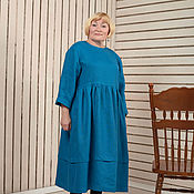 Одежда ручной работы. Ярмарка Мастеров - ручная работа Платье в стиле бохо цвета морской волны из льна. Handmade.