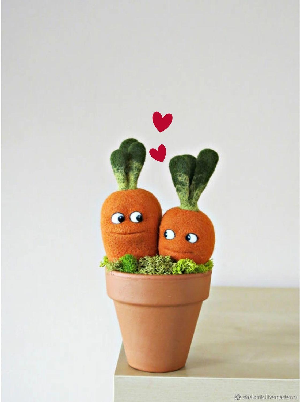 Парные морковки - Интерьерная войлочная игрушка, Войлочная игрушка, Санкт-Петербург,  Фото №1