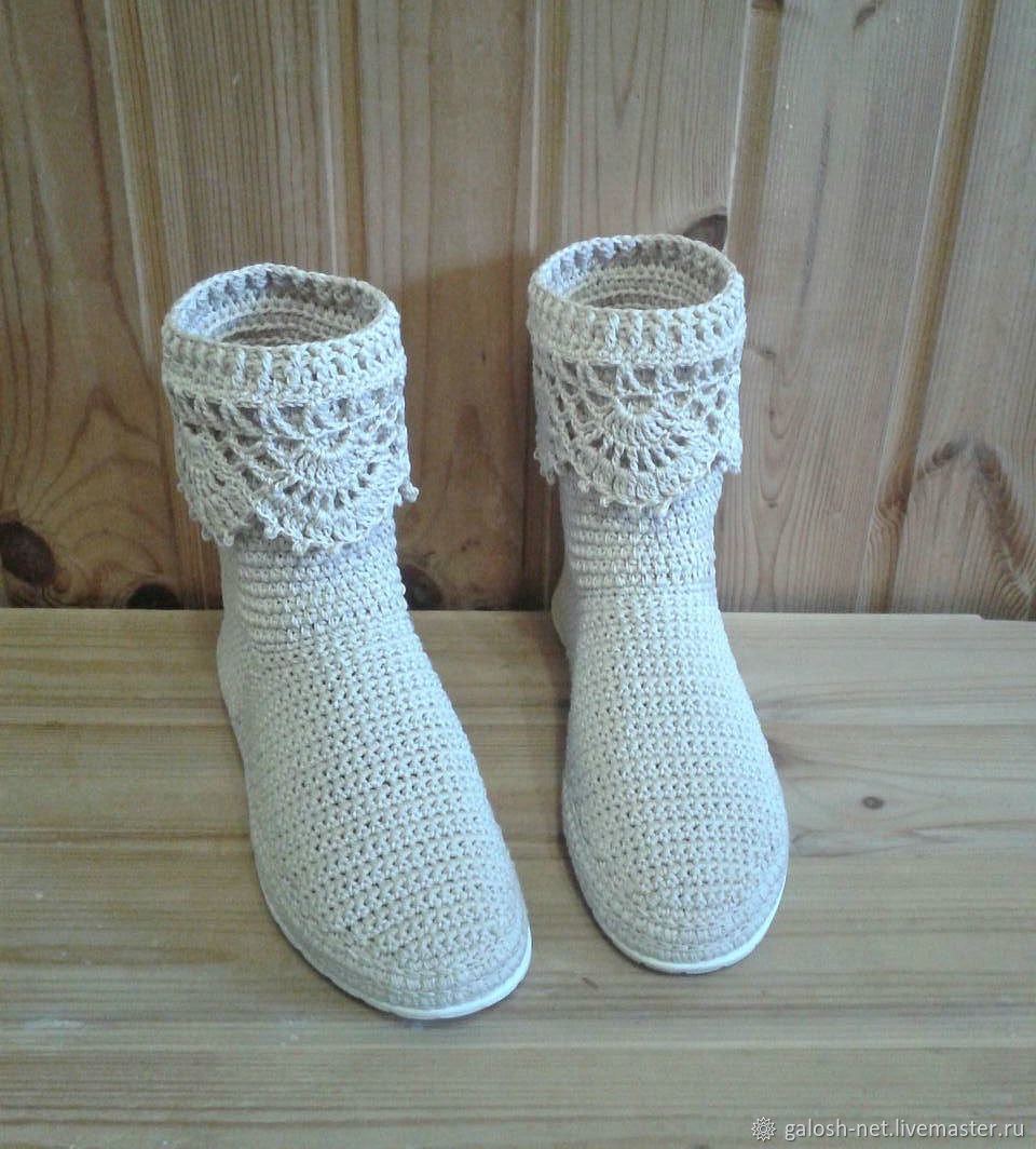 Обувь ручной работы. Ярмарка Мастеров - ручная работа. Купить Вязаные сапожки. Ажур milk. Handmade. Сапожки вязаные