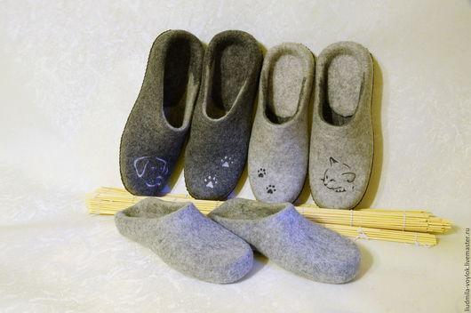 """Обувь ручной работы. Ярмарка Мастеров - ручная работа. Купить Валяные тапочки """"Мои  лучшие друзья"""", 3 пары. Handmade."""