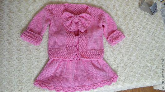 Одежда для девочек, ручной работы. Ярмарка Мастеров - ручная работа. Купить костюмчик для девочки. Handmade. Розовый, комплект вязаный