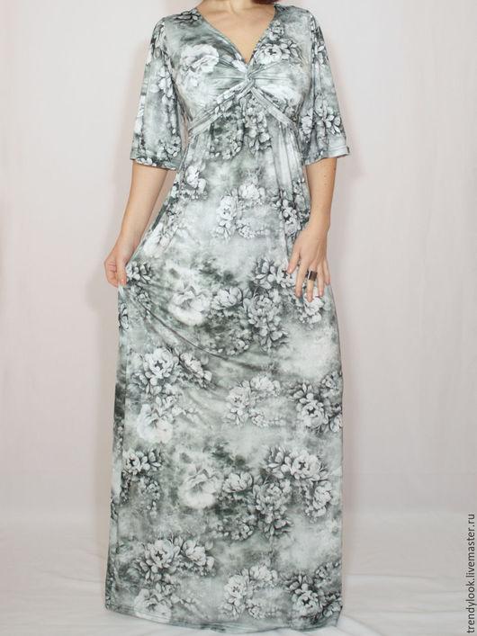 Платья ручной работы. Ярмарка Мастеров - ручная работа. Купить Платье в цветах,макси платье в пол,короткий рукав,3d принт. Handmade.