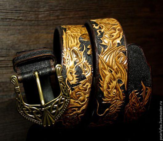 Пояса, ремни ручной работы. Ярмарка Мастеров - ручная работа. Купить Мужской кожаный ремень ручной работы Дракон. Handmade.