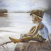 Картины и панно handmade. Livemaster - original item Silence painting pastel 50h65 cm (gray-brown lake boy). Handmade.