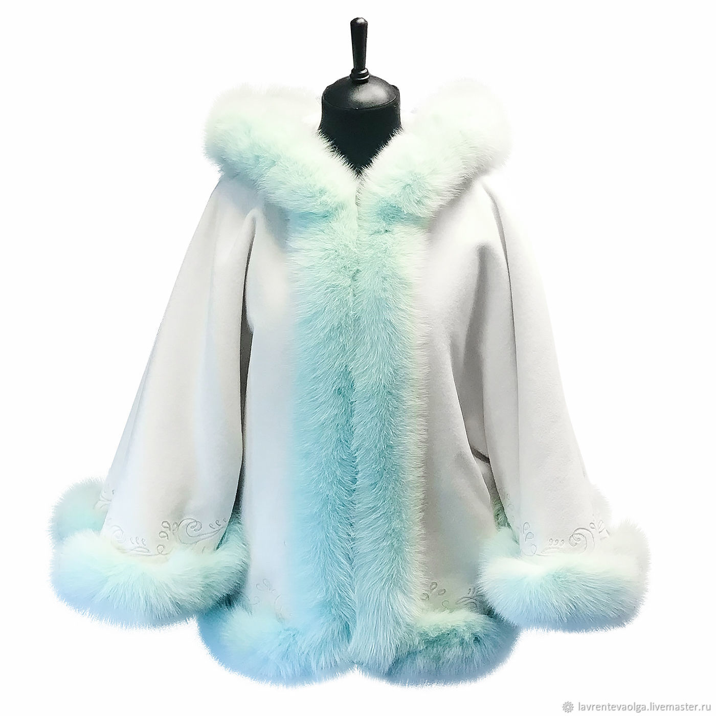 Auto lady jacket white cashmere and mint Fox, Outerwear Jackets, Moscow,  Фото №1