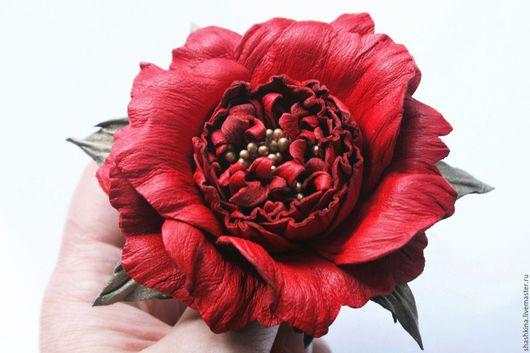 """Броши ручной работы. Ярмарка Мастеров - ручная работа. Купить Брошь из кожи """"Джун"""". Цветы из кожи, кожаные цветы, роза из кожи.. Handmade."""