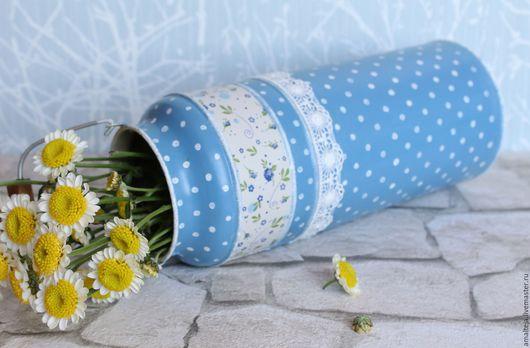 """Графины, кувшины ручной работы. Ярмарка Мастеров - ручная работа. Купить Бидон """"Ромашки спрятались"""" ваза для цветов. Handmade. Голубой"""