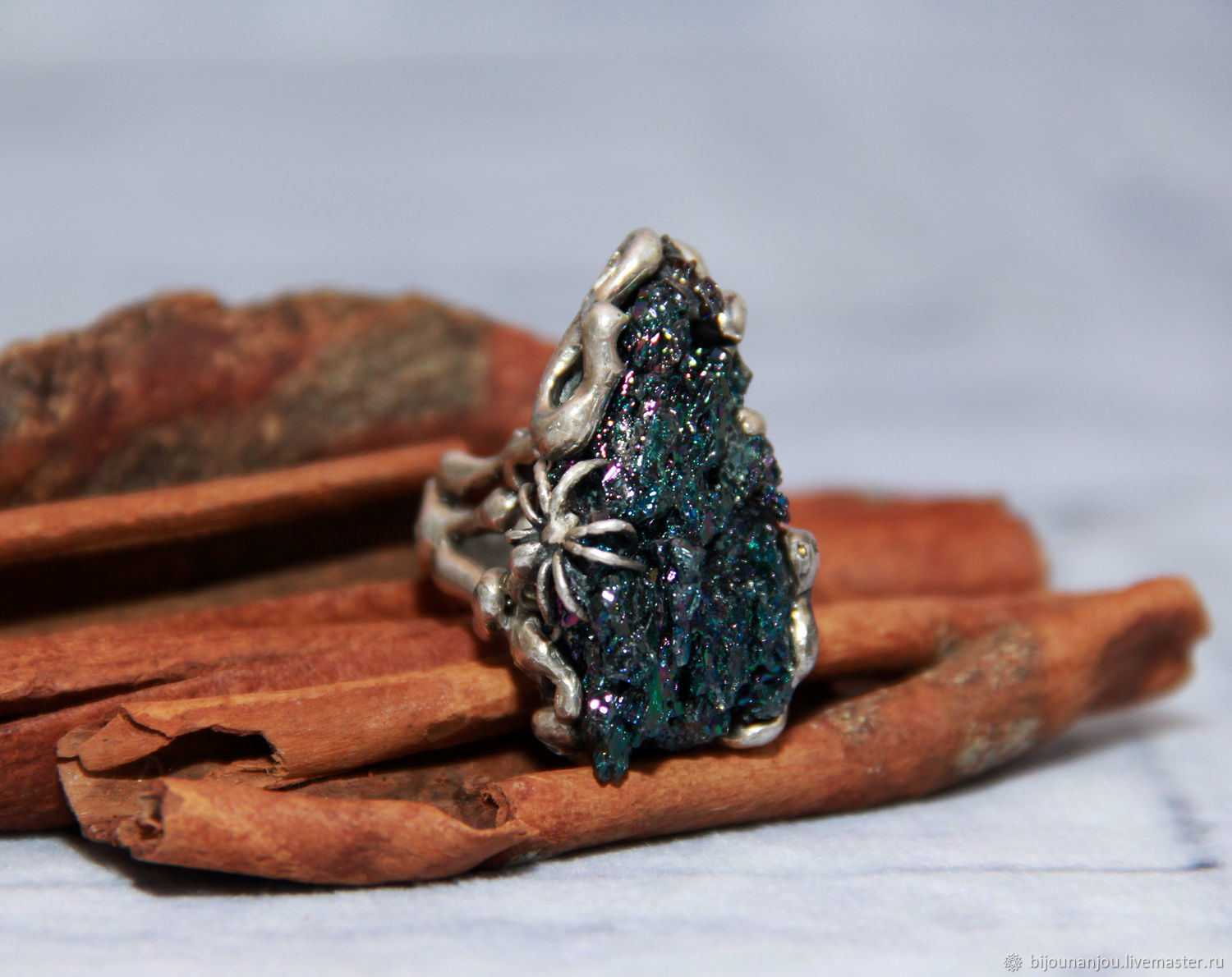 925 sterling silver ring with raw flint and spider RS0056, Rings, Yerevan,  Фото №1