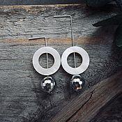 Украшения handmade. Livemaster - original item Earrings with pyrites and pearl circles. Handmade.