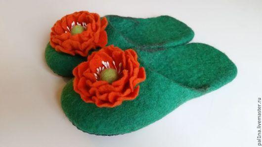 Обувь ручной работы. Ярмарка Мастеров - ручная работа. Купить Домашние тапочки. Handmade. Ярко-зелёный, Тапочки ручной работы