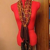 Аксессуары ручной работы. Ярмарка Мастеров - ручная работа Шелковый шарф с норковыми хвостами. Handmade.
