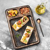 Посуда handmade. Livemaster - original item Dark oak serving board with three compartments small. Handmade.