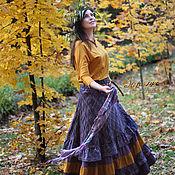 Одежда ручной работы. Ярмарка Мастеров - ручная работа Юбка длинная лиловая Осень. Handmade.