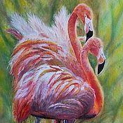 """Картины ручной работы. Ярмарка Мастеров - ручная работа Картина маслом """"Розовый Фламинго"""". Handmade."""