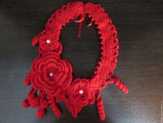 Шарфы и шарфики ручной работы. Ярмарка Мастеров - ручная работа. Купить Вязаное украшение на шею. Handmade. Ярко-красный