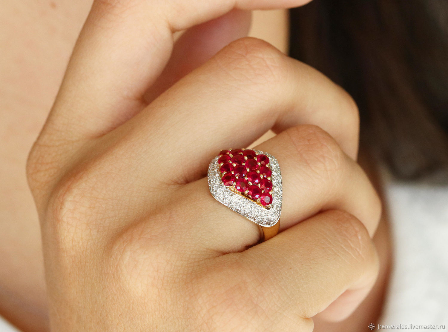 18K Ruby Ring, Yellow Gold Ruby Ring, Cluster Ruby Diamond Ring,, Rings, West Palm Beach,  Фото №1