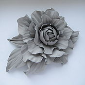 Украшения handmade. Livemaster - original item Leather flowers. Brooch hairpin GRIGIO . Genuine leather.. Handmade.