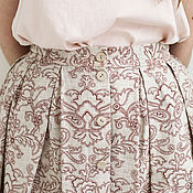 Одежда ручной работы. Ярмарка Мастеров - ручная работа Летняя юбка с цветочным орнаментом, со складками, лён с хлопком. Handmade.