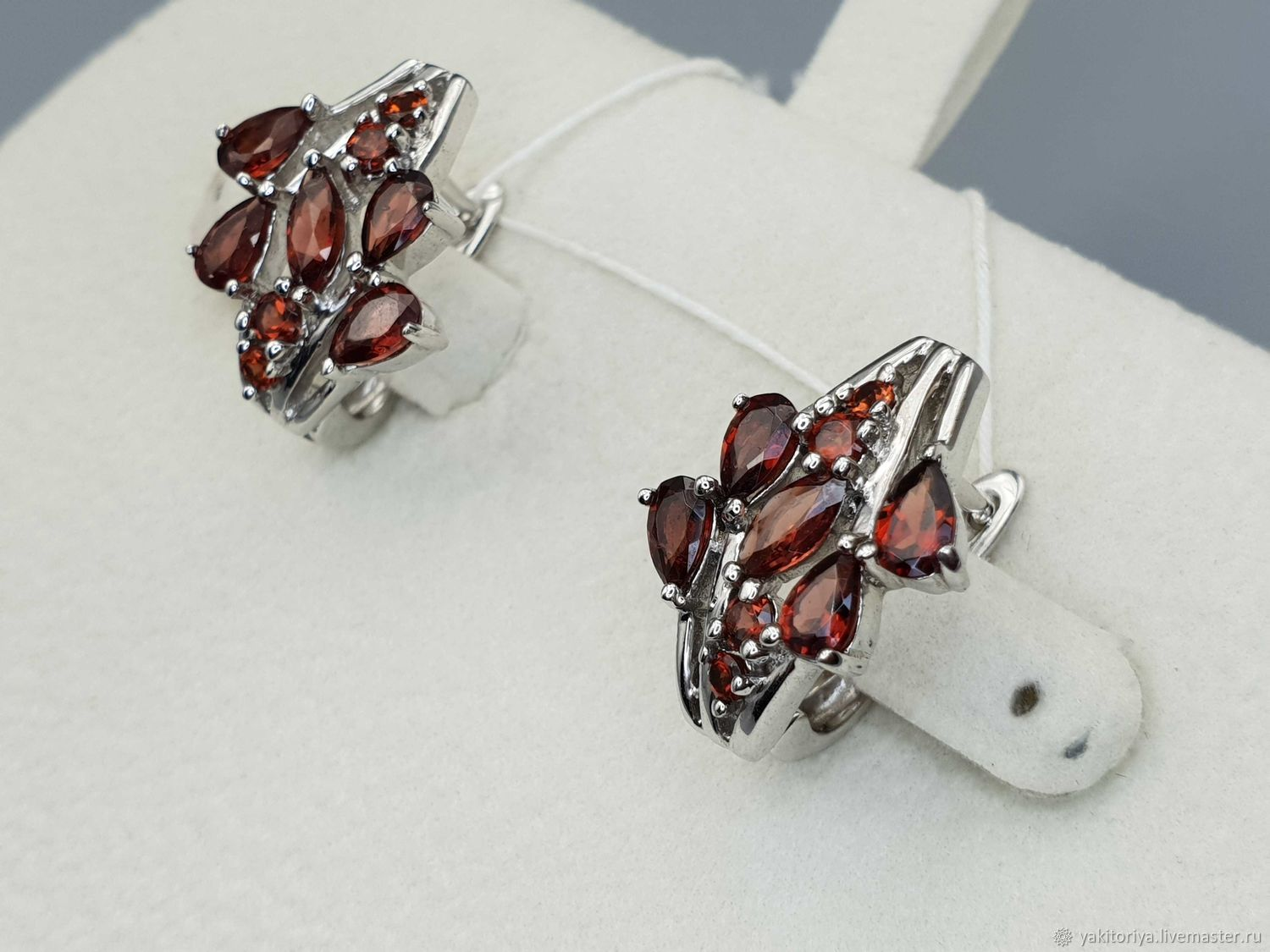 silver earrings with garnets, Earrings, Moscow,  Фото №1