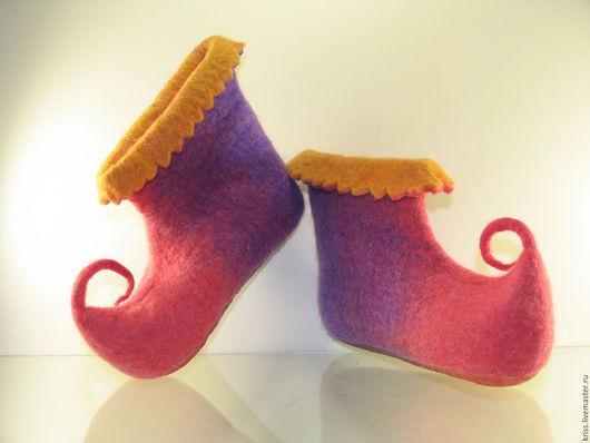 Обувь ручной работы. Ярмарка Мастеров - ручная работа. Купить Детские домашние тапочки. Handmade. Комбинированный, обувь для девочки