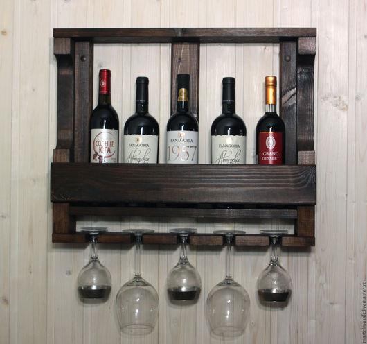 """Мебель ручной работы. Ярмарка Мастеров - ручная работа. Купить Винная полка """"Венге"""" на 5 бокалов. Handmade. Полка для вина"""