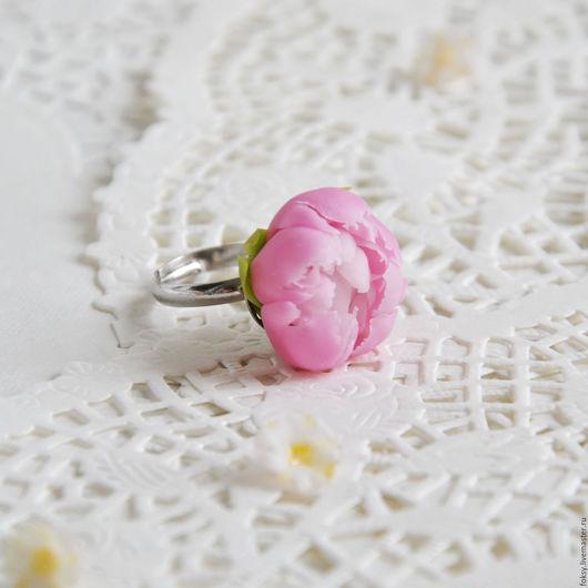 """Кольца ручной работы. Ярмарка Мастеров - ручная работа. Купить Кольцо """"Розовый пион"""". Handmade. Разноцветный, украшение с пионом"""