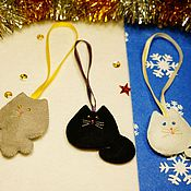 Подарки к праздникам ручной работы. Ярмарка Мастеров - ручная работа Ёлочные игрушки Котята. Handmade.