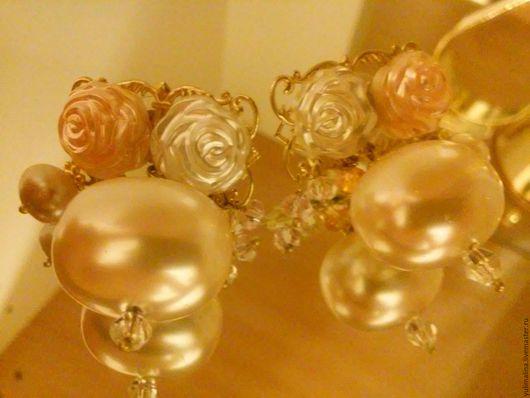 Серьги ручной работы. Ярмарка Мастеров - ручная работа. Купить Серьги Невеста. Handmade. Бежевый, свадьба, жемчуг натуральный