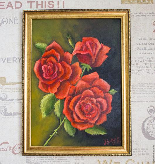 Картины цветов ручной работы. Ярмарка Мастеров - ручная работа. Купить Картина маслом алые розы. Handmade. Ярко-красный
