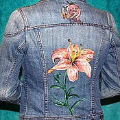 Одежда handmade. Livemaster - original item Denim jacket with Fleur-de-Lis hand painted. Handmade.