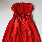 Работы для детей, ручной работы. Ярмарка Мастеров - ручная работа Платье кружевное Алое. Handmade.
