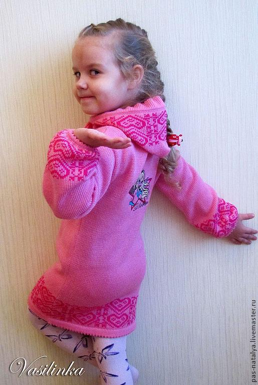 """Одежда для девочек, ручной работы. Ярмарка Мастеров - ручная работа. Купить Вязаный кардиган для девочки """"Модница"""". Handmade. Розовый"""