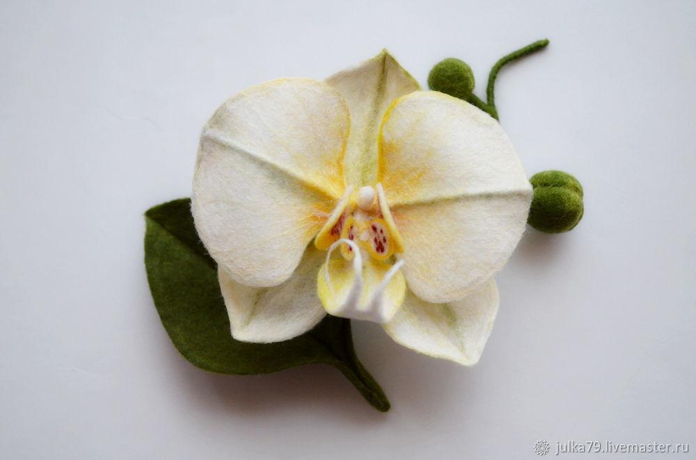 Броши ручной работы. Ярмарка Мастеров - ручная работа. Купить Орхидея брошь. Handmade. Валяние, броши, брошь орхидея
