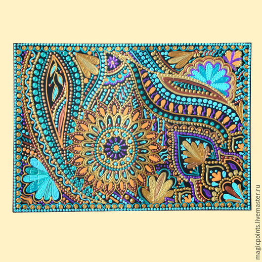 Обложка для паспорта из натуральной кожи с ручной росписью `Сказочный сад` Точечная роспись . Ручная работа . Обложка на паспорт кожаная.