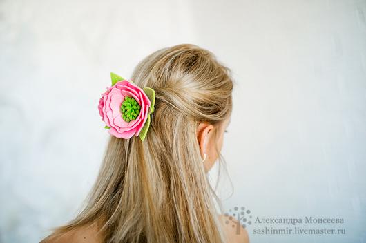 """Заколки ручной работы. Ярмарка Мастеров - ручная работа. Купить Заколка """"Розовая нежность"""". Handmade. Розовый, felt flower"""