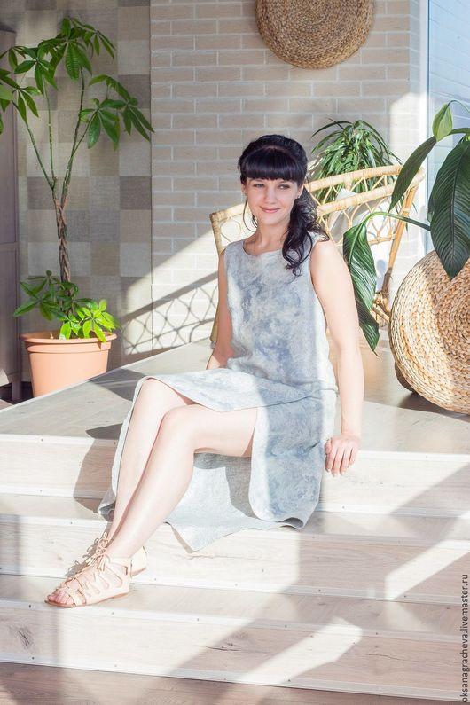 Платья ручной работы. Ярмарка Мастеров - ручная работа. Купить Войлочное платье. Handmade. Серый, нуновойлочное платье, шёлк натуральный