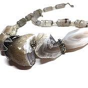 handmade. Livemaster - original item Necklace Mists. Agate natural, accessories Anna Black, silvering. Handmade.