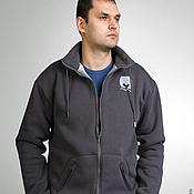 Одежда handmade. Livemaster - original item Grey hoodie with fur, men`s hoodie with stand-up collar. Handmade.