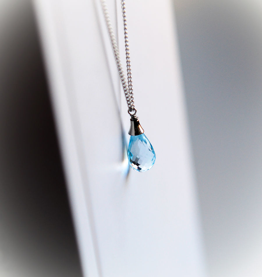 Chain with a drop of blue Topaz in a rhodium coating, Necklace, Moscow,  Фото №1