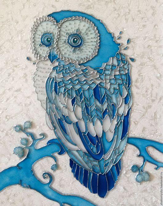 Элементы интерьера ручной работы. Ярмарка Мастеров - ручная работа. Купить Снежная сова. Handmade. Синий, зима, птица