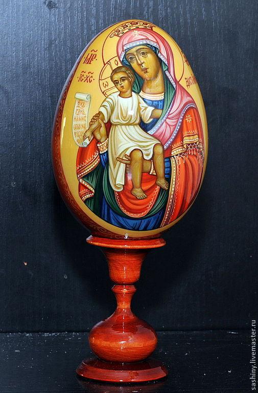 Яйца ручной работы. Ярмарка Мастеров - ручная работа. Купить Пасхальное яйцо Образ Богородицы Достойно есть ручная роспись. Handmade.
